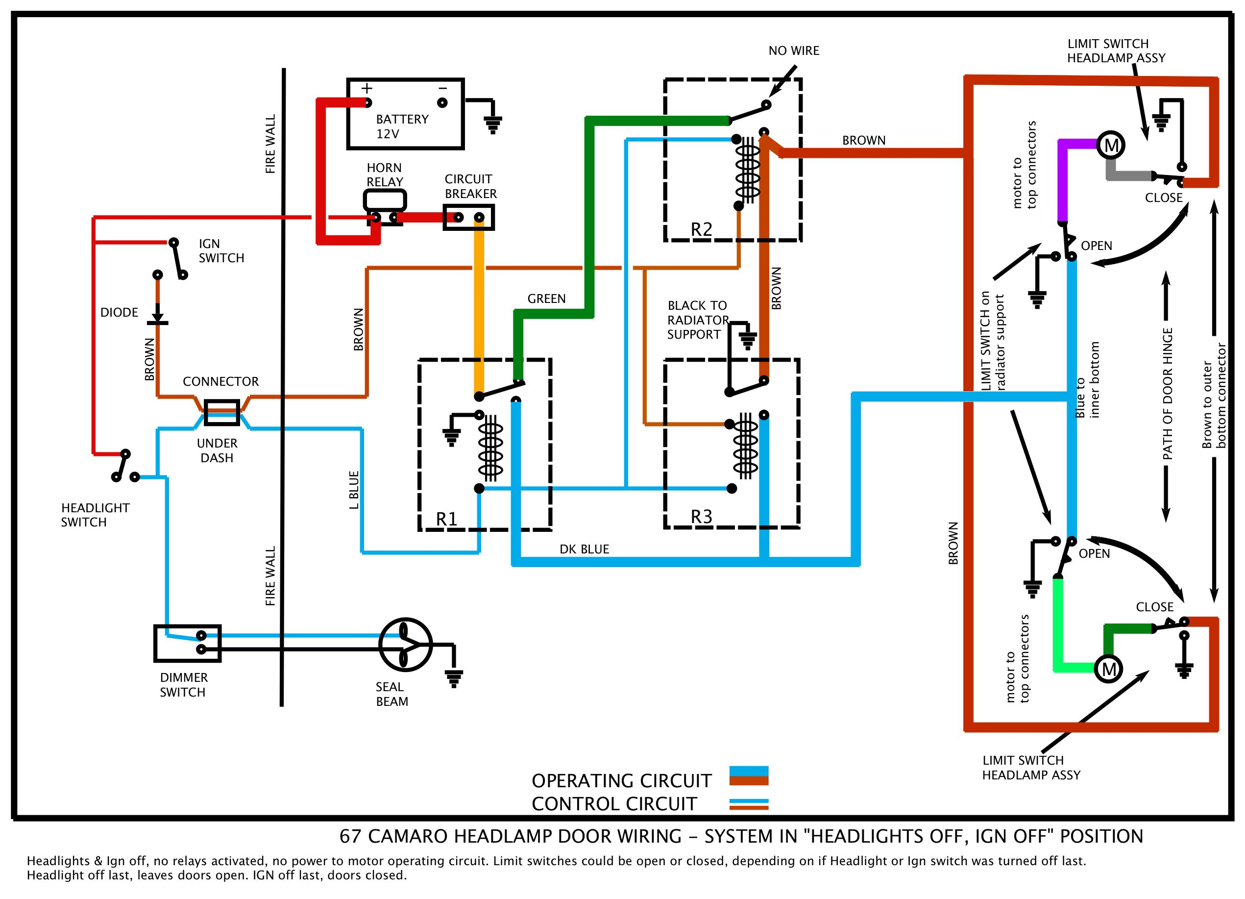 67 Camaro RS Headlight wiring diagram by David color